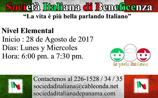 Curso de Italiano Nivel Elemental 28 de Agosto